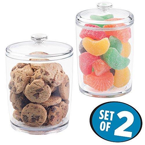 mDesign 2er-Set Aufbewahrungsgläser – Vorratsdosen aus Kunststoff – für Kekse, Schokolade und...