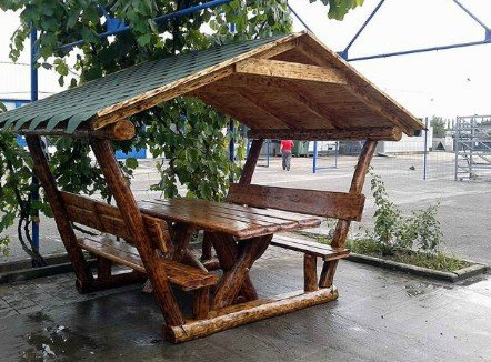 Casa Padrino Rustic Gazebo With Table And 2 Garden Benches Solid Oak Covered Garden