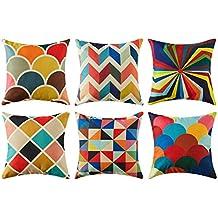 Top finel colorido geométrico algodón lino fundas de cojín para sofá almohadas Home decorativo juego de