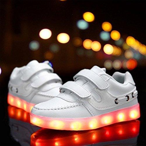 (Présents:petite serviette)JUNGLEST® Little Boy Fille Kid recharge USB LED Light Up Glow Souliers Cl Blanc