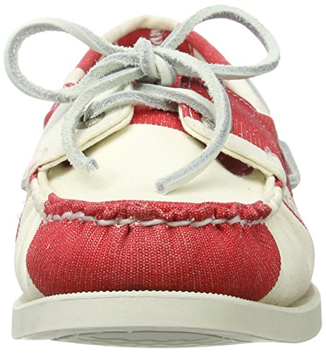 Sebago Spinnaker, Mocassins femmes Rouge (Red/wht Stripe Cnvs)