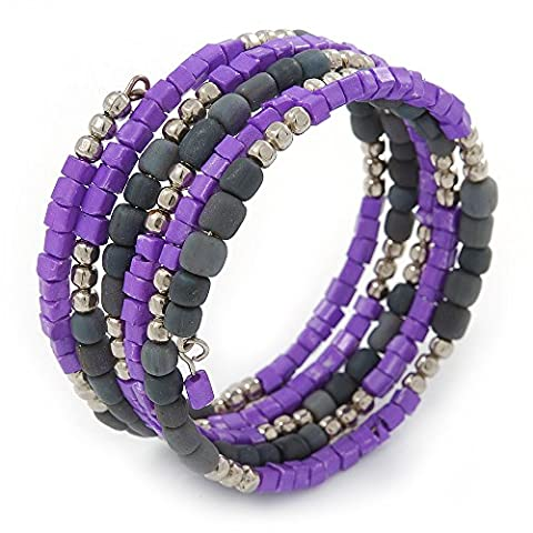 Purple/ Grey Stone Bead Multistrand Coiled Flex Bracelet Bangle -