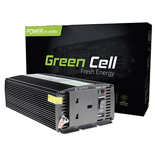 Grün Cell® 500W Power Inverter DC 12V auf AC 230V 240V Auto Spannung Konverter, inkl. Stecker für Zigarettenanzünder, USB, Ladeanschluss und direkten Anschluss an Kfz Akku -