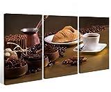 Leinwand 3 tlg. Kaffee Bohnen Essen Cafe Küche Bilder Wandbild aufgespannt 9A383 Holz - fertig gerahmt - direkt von Hersteller, 3 tlg BxH:90x60cm (3Stk 30x 60cm)