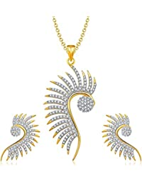 Aabhu Gold Plated American Diamond Peacock Inspired Pendant Set Necklace With Earrings Jewellery For Women And...
