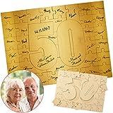 Geschenke 24: Holzmosaik – Goldene Hochzeit: Kreatives Holz-Puzzle zum Selbergestalten