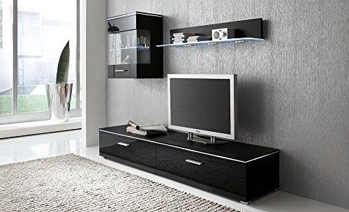 Anbauwand 3-tlg. in Hochglanz schwarz, TV-Element, Hängevitrine, Glasbodenpaneel, Mindestbreite: ca. 180 cm, Tiefe: ca. 40 cm
