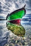 Startonight Glasbild Boot auf dem See, Bild auf Acrylglas Muster Modern Dekoration Fertig zum Aufhängen 60 x 90 cm