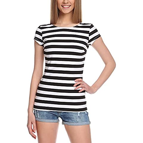 oodji Collection Donna T-Shirt a Righe con Scollo