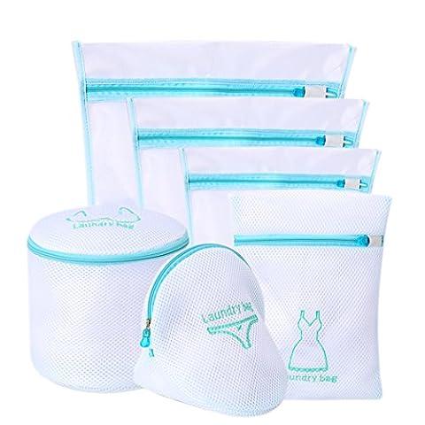 Filet Linge délicat Sacs de lavage pour machine à laver, grande Net, Ensemble de sacs à linge pour soutien-gorge et Lingerie avec fermeture à glissière par Abimars Lot de 6, bleu,