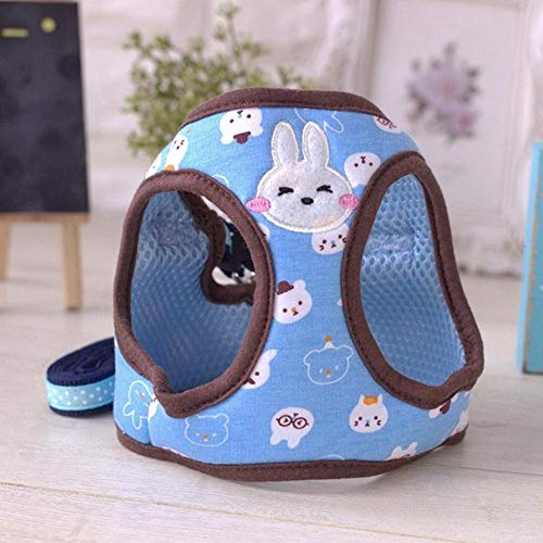 PENVEAT Pet Dog Harness Collar Cute Cartoon Design Lead Breath Soft for Small Puppy Dogs Cats,Blue,L -
