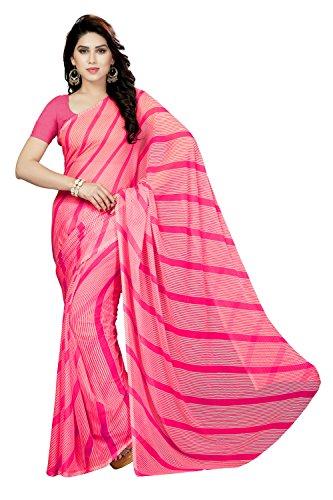 Rani Saahiba Leheria Printed Chiffon Saree Without Blouse (SKR3468_Pink)