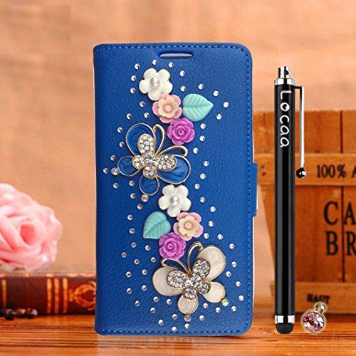 Locaa(TM) Für SONY Xperia X compact mini Xcompact 3D Bling Case 3 IN 1 Schutzhülle Schale Einfach Accessory Einzigartig Hülle Abdeckung For Phone Shell Cover [Bunt 3] Schmetterling Blume - Blau