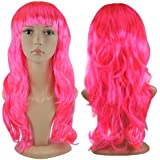 Beyondfashion Women's Long Curly Fancy Dress Wigs Blonde Cosplay Costume Ladies Wig Party (Pink)
