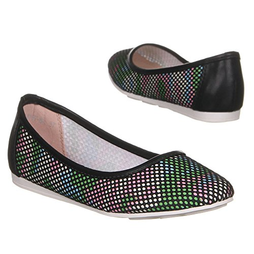 Ital-Design, Ballerine donna Multicolore (Nero/Multicolore)