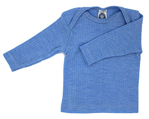 Cosilana Cosilana Baby Schlupfhemd, Größe 50/56, Farbe Blau meliert - Exclusiv Wollbody®GmbH - Qualität 91 45% Baumwolle kbA, 35% Schurwolle kbT, 20% Seide