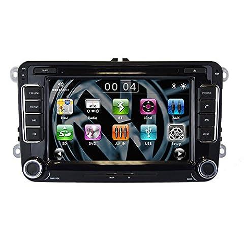 Sonic Audio RNS-VW Système de navigation radio/CD/DVD/GPS/navigation par satellite équipé d'un port USB/port SD/de connectiques AUX/de la technologie Bluetooth/d'une connectique iPod Compatible avec VW Golf/Passat/Polo/Touran/Sharan/Scirocco/Amarok/Transporter/T5/Eos/Jetta/Caddy
