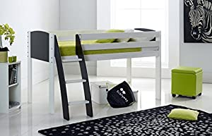 Scallywag Kids Cabin Mid-Sleeper Bed Shorty Narrow - Curved Ladder - End Panel & Ladder In 8 Colour Options - Made In The UK.