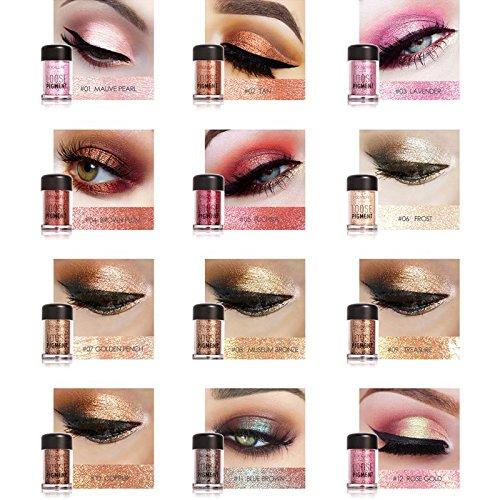 12 Farben Profi Schönheits Kosmetik Wasserdicht Lidschatten Eyeshadow Pulver Nature Glow Schimmern Glitzer Augen Schatten Pigmente
