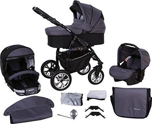 Milk Rock Baby Macano 3 in 1 Cochecito Combinado con 3 colores diferentes para el marco (asiento del coche, cubierta para la lluvia, mosquitero, ruedas giratorias de 20 colores) MO30 negro / negro & grafito
