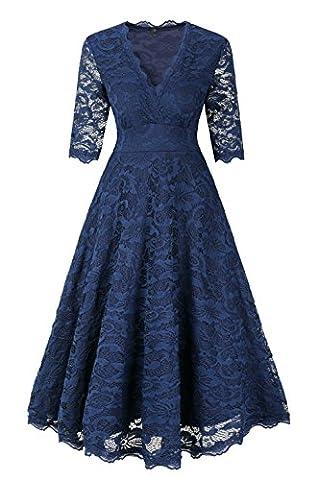 EVA Elegant Damenkleid Spitzenkleid knielanges Sommerkleid Herbstkleid festliches Partykleid Ballkleid Abendkleid Cocktailpartykleid 1950er mit 1/2 langen Ärmeln und V-Ausschnitt- Gr. XL/EU(38-40),
