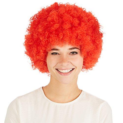 dressforfun Afro Perücke | Clown Hippie Popstar 80er 70er Jahre Karneval Fasching Clownperücke (Rot | Nr. 300714)