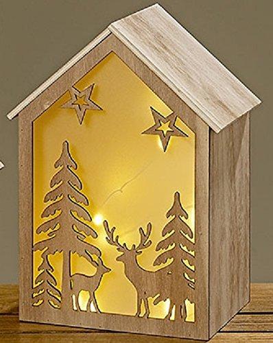 LED-Haus Forrest 20x18x18cm Holzhaus LED House Weihnachtsdeko Beleuchtung Wald Rehe Schneeflocken natur Landhaus Tischschmuck XMAS Stimmungslampe Batteriebetrieben Natur Rehe