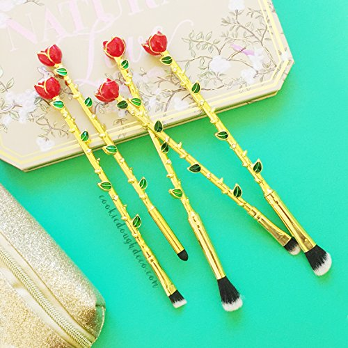 5 x Enchanted Rose Makeup Brushes eyeshadow brush set by Cookie Dough Deco � - GOLD TIP