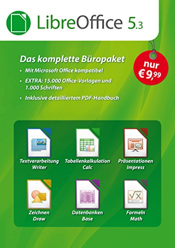 LibreOffice Software 5.3 Special Edition für Windows 10, 8.1, 7, Vista und XP - kompatibel zu Microsoft Office Word, Excel, PowerPoint und Office 365 inkl. PDF Handbuch, 15.000 Office Vorlagen