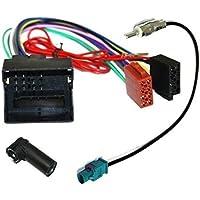 AERZETIX: Adaptador con ISO cables enchufes para antena de autoradio