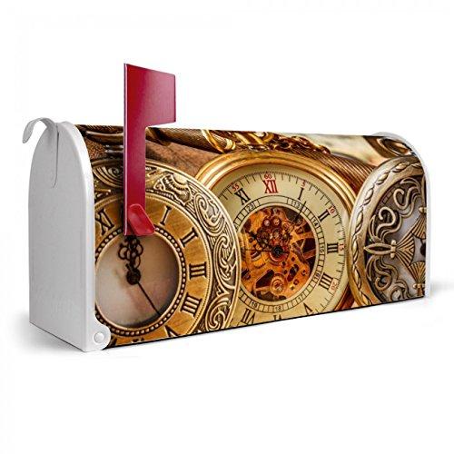 BANJADO US Mailbox | Amerikanischer Briefkasten 51x22x17cm | Letterbox Stahl weiß | mit Motiv Taschenuhren, Briefkasten:ohne Standfuß