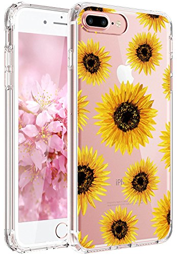 JIAXIUFEN iPhone 7 Plus Hülle, iPhone 8 Plus Hülle, TPU Silikon Schutz Handy Hülle Handytasche HandyHülle Etui Schale Schutzhülle Case Cover für Apple iPhone 7 Plus/iPhone 8 Plus - Sun Flowers