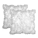 Oriskey 2er-Set 3D Satin Rose Blumen Kissenhülle Kissenbezug Kissenbezüge Dekokissen Kissen Fall Haus Bett Sofa Couch Zimmer Auto Dekorative Weiß 42x42cm