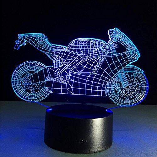 LPY-3D-Illusion Lampe Motorradmodell dekorative Licht 7 Farben Schalter von Smart Touch Button kreatives Geschenk Home Office Dekorationen Baby-kinderzimmer Deckenventilator