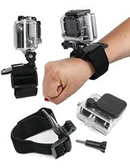 DURAGADGET Sangle poignée / bracelet de fixation noir ajustable pour caméscope GoPro tous modèles (1, 2, 3, HD3+, GoPro 4/ Hero 4, Hero5 / Hero 5 Session, HERO+ LCD, Outdoor, HD, Silver & Black Adventure, Surf & Music etc.)