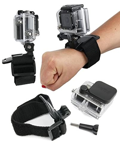 DURAGADGET Sangle poignée / bracelet de fixation noir ajustable pour caméscope GoPro tous modèles (1, 2, 3, HD3+, GoPro 4/ Hero 4, Hero5 / Hero 5 Session, HERO+ LCD, Outdoor, HD, Silver & Black Adventure, Surf & Music