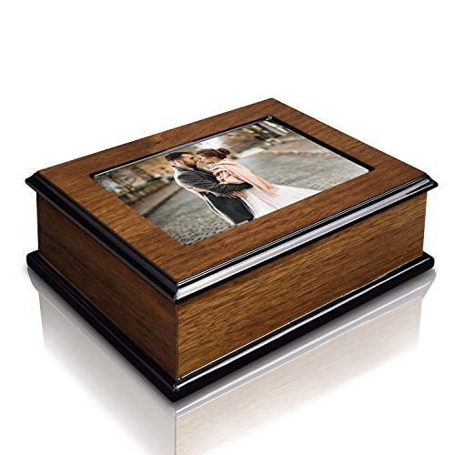Ikee Design Holz glänzend Musical Jewelry Box mit 4x 6Foto Rahmen