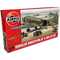 Airfix - Kit de modelismo, avión Douglas Dakota MkIII with Willys Jeep 1:72 (Hornby A09008)