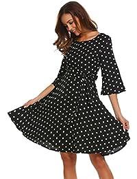 Meaneor Damen Elegantes Vintage Sommerkleid Skaterkleid Festliches Kleid  Swing Kleid mit Gürtel Cocktailkleid Partykleid Abendkleid Polka 0f03fe378b