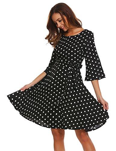 Beyove Damen Abendkleid 50s Vintage Polka Dots Langarm Kleid Blumenkleid Festliches Kleid Swing Rockabilly Kleid mit Gürtel Cocktailkleid Winterkleid Herbst Schwarz
