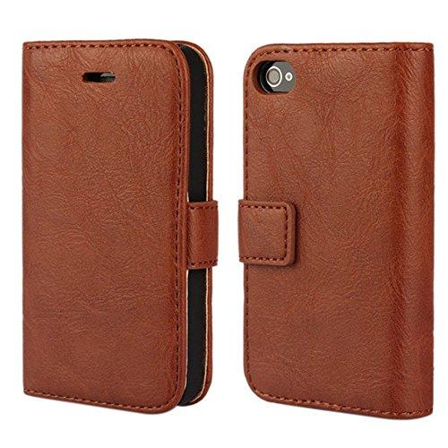 iPhone 4 hülle, iPhone 4s Holster hülle,Bookstyle Handyhülle Premium PU Leder Tasche Flip Case Brieftasche Etui Handy Schutz Hülle für Apple iPhone 4 / 4s / - Braun