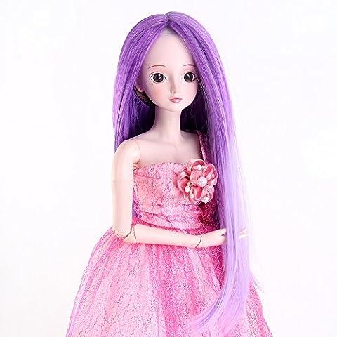 Stfantasy American Girl Doll Wigs Long Straight Heat Resistant Synthetic Hair 14 Inch 140g BJD SD Doll Neat Bang Wig Peluca, Purple Hightlights