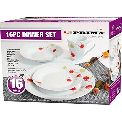 16PC DINNER SET BOWL PLATE MUG SOUP SIDE PORCELAIN CUP