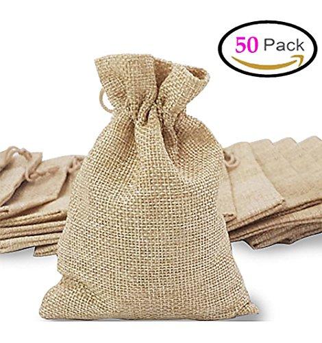 3a510aa90 50pcs bolsas de arpillera bolsas de joyas con cordón, bolsa de regalo  reutilizable Bolsa de