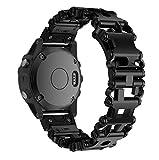 SUPORE Garmin Fenix 5X Correa, Multifunción Acero Inoxidable Genuino Liberación Rápida Correa de Reloj de Pulsera para Garmin Fenix 3/Fenix 5X GPS Running Smartwatch con Herramientas para Hombre