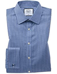 163927b842cc Classic Fit Non-Iron Puppytooth Royal Blue Cotton Formal Shirt Double Cuff  by Charles Tyrwhitt
