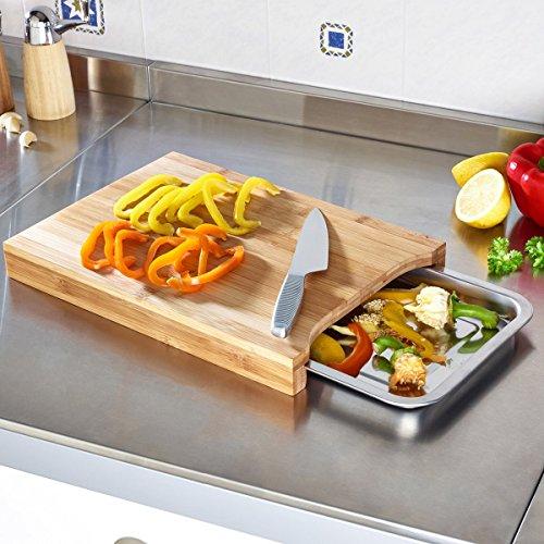 Schneid-Center, Bambus Schneidbrett, Edelstahl Auffangschale, Cutting Board, Bambusbrett, Frühstücksbrett, Küchenbrett, 35 x 24,5 x 4 cm