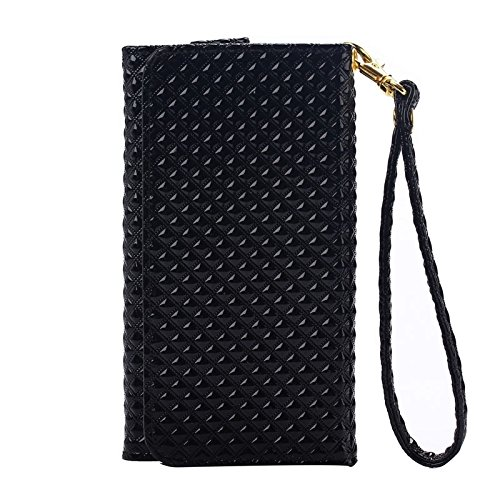 wkae Schutzhülle Case & Cover 14cm Universal Pearl Grid Textur Leder Case mit Wallet & CardSlots & lanyardfor iPhone 6Plus & 6splus/6/5/5S/5C, Samsung Galaxy S6/S6Edge/A7/E7 schwarz
