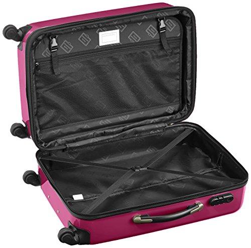 HAUPTSTADTKOFFER - Alex - 2er Koffer-Set Hartschale glänzend, 65 cm, 74 Liter, Graphit-Schwarz Magenta-Silber