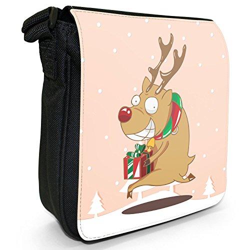 Renne di Babbo Natale Fun & Frolics piccolo nero Tela Borsa a tracolla, taglia S Rudolph Runs Away With Gift